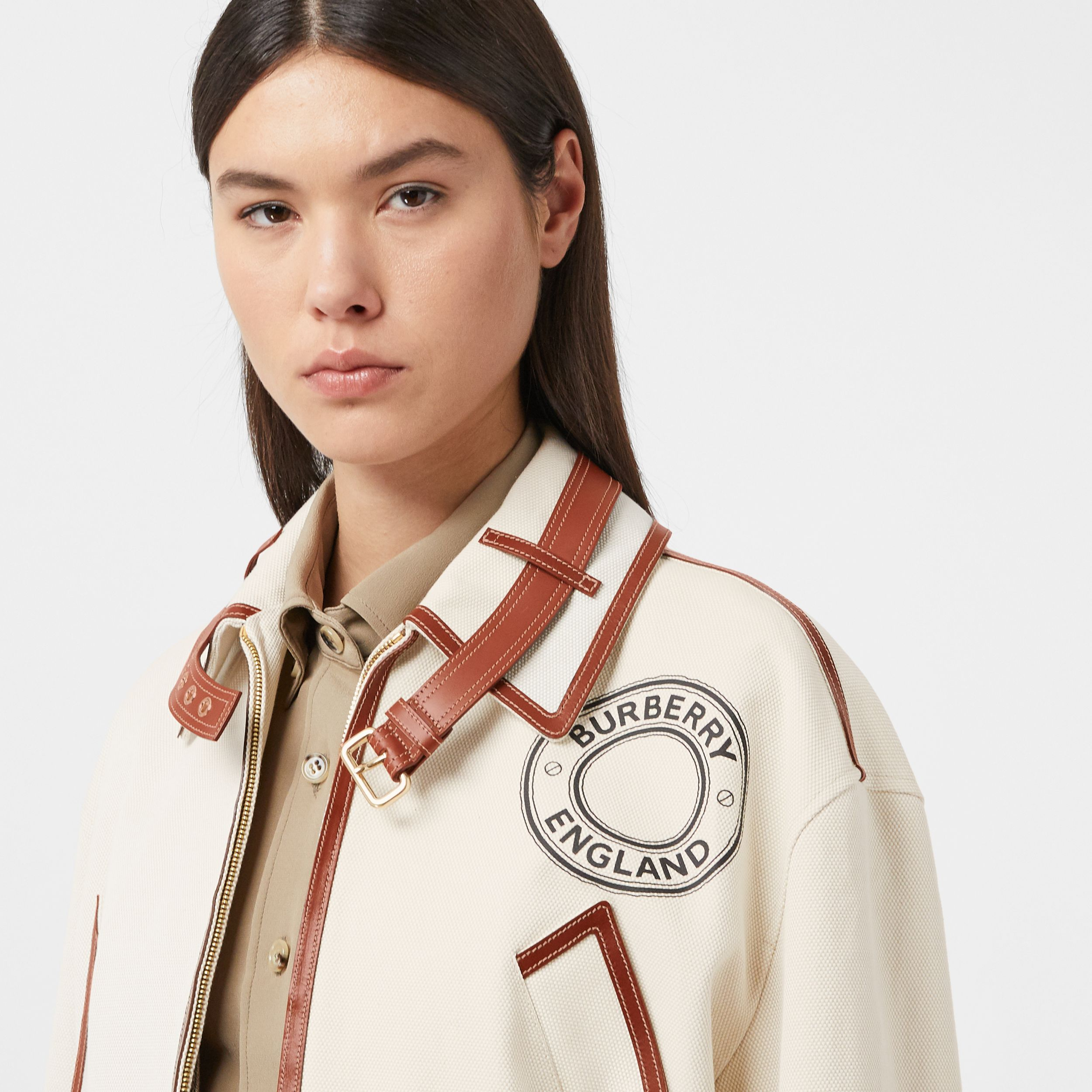 Logo Graphic Cotton and Lambskin Riding Jacket in Vanilla - Women | Burberry - 2