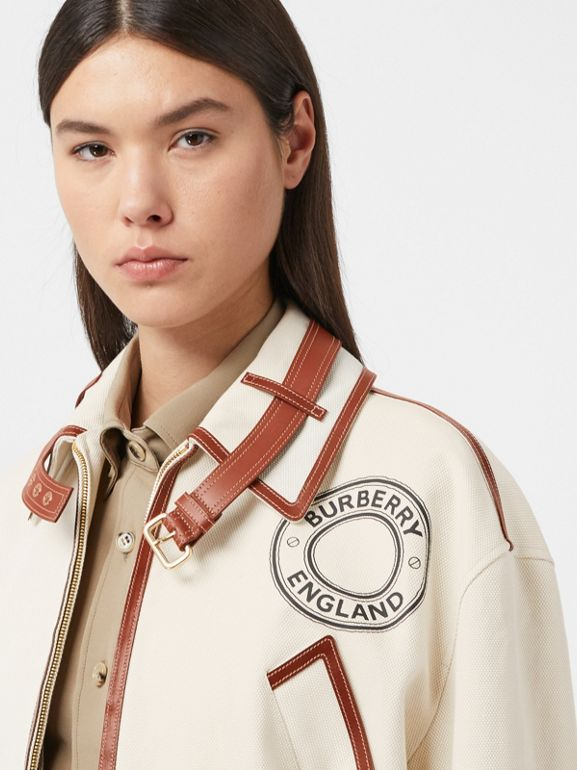 Logo Graphic Cotton and Lambskin Riding Jacket in Vanilla - Women | Burberry United Kingdom - cell image 1