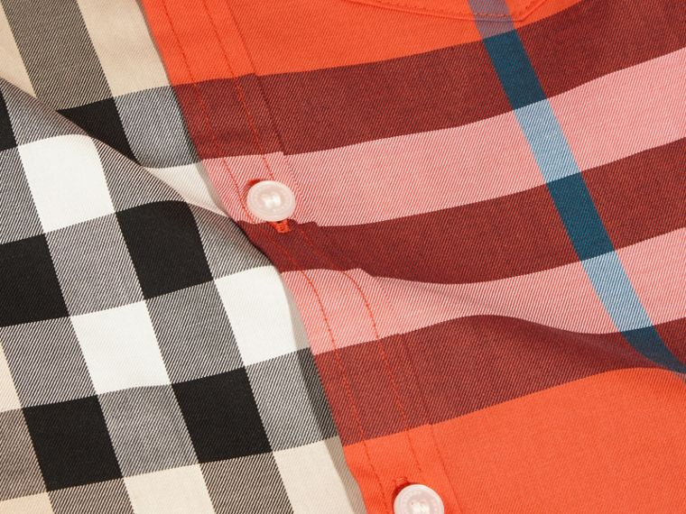 Short-sleeved Contrast Check Cotton Shirt in New Classic - Boy | Burberry - cell image 1
