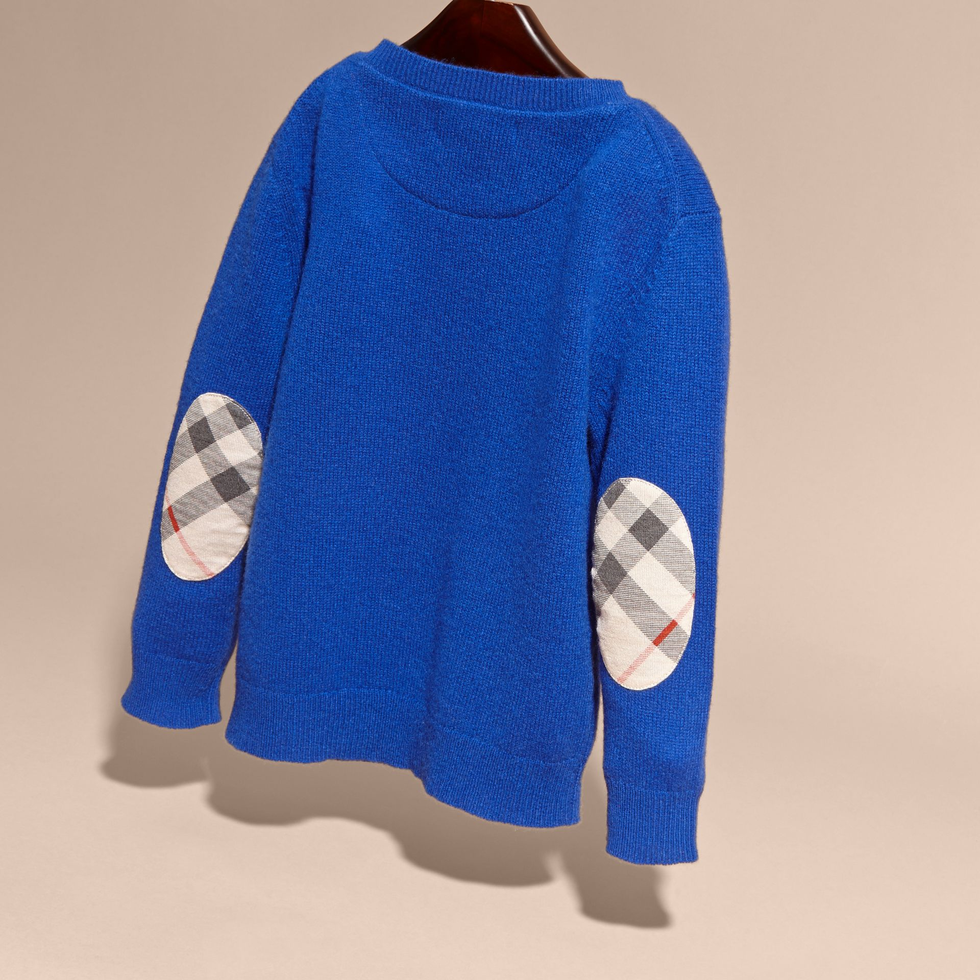 Brilliant blue Check Elbow Patch Cashmere Sweater Brilliant Blue - gallery image 3