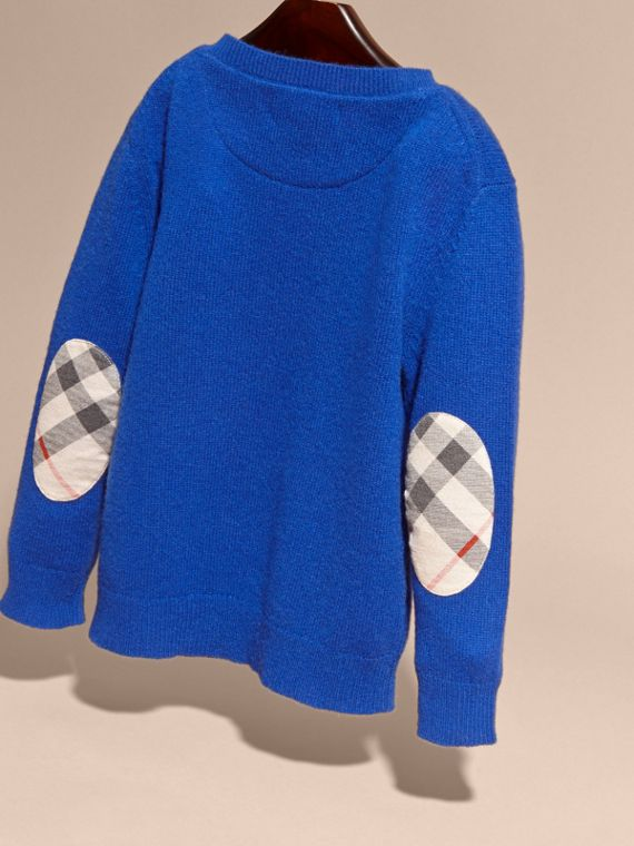 Check Elbow Patch Cashmere Sweater in Brilliant Blue - cell image 2