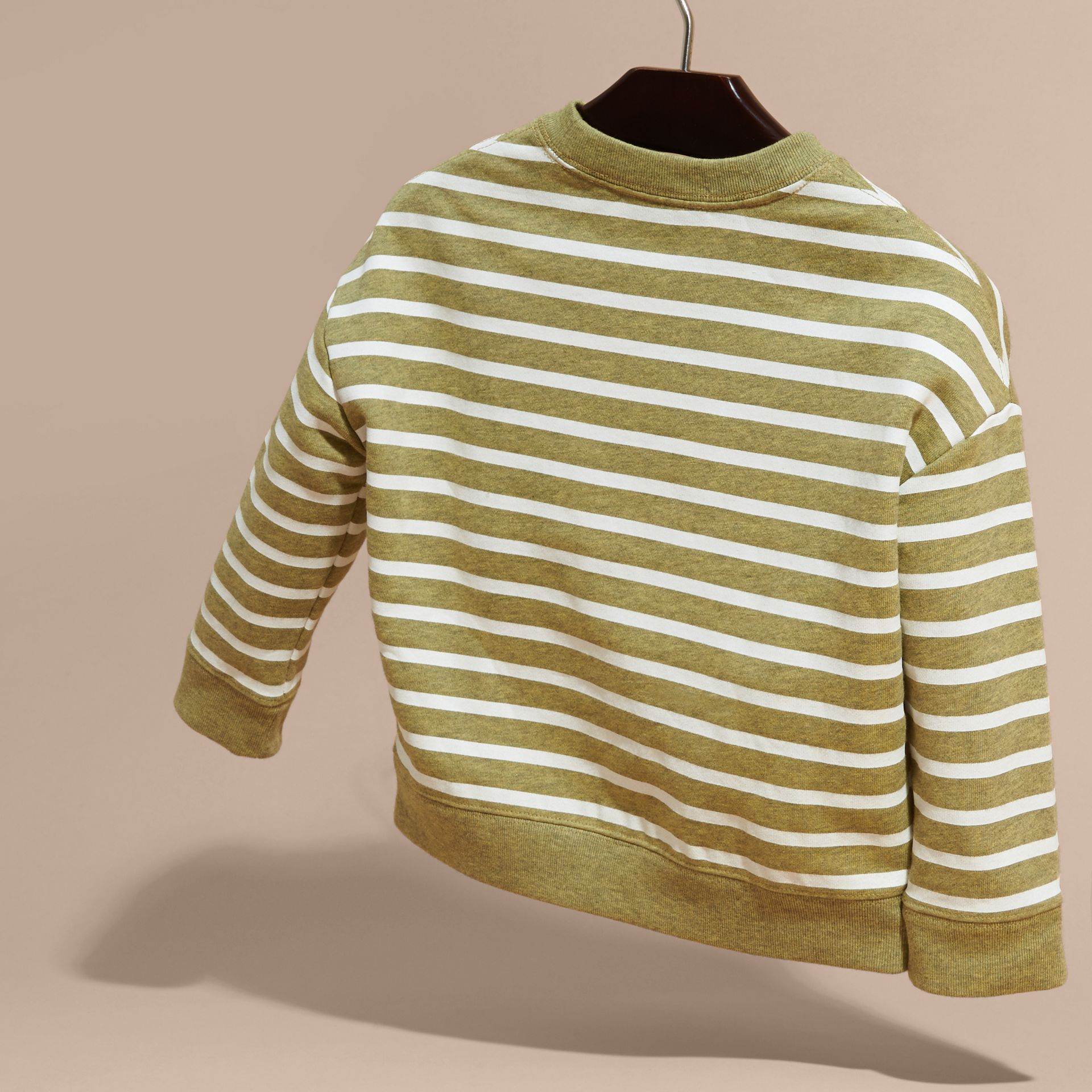 Striped Cotton Sweatshirt in Gorse Yellow Melange - Girl | Burberry - gallery image 4