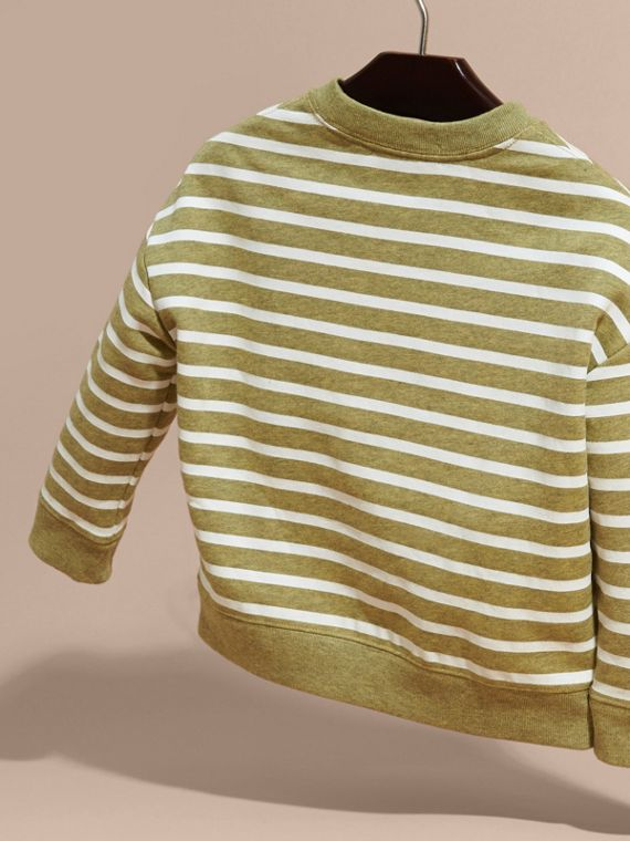 Striped Cotton Sweatshirt in Gorse Yellow Melange - Girl | Burberry Australia - cell image 3