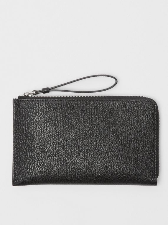 Two-tone Grainy Leather Travel Wallet in Black