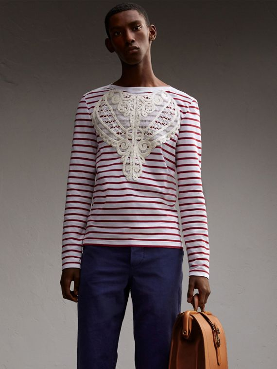 Unisex Breton Stripe Cotton Top with Lace Appliqué - Men | Burberry Australia