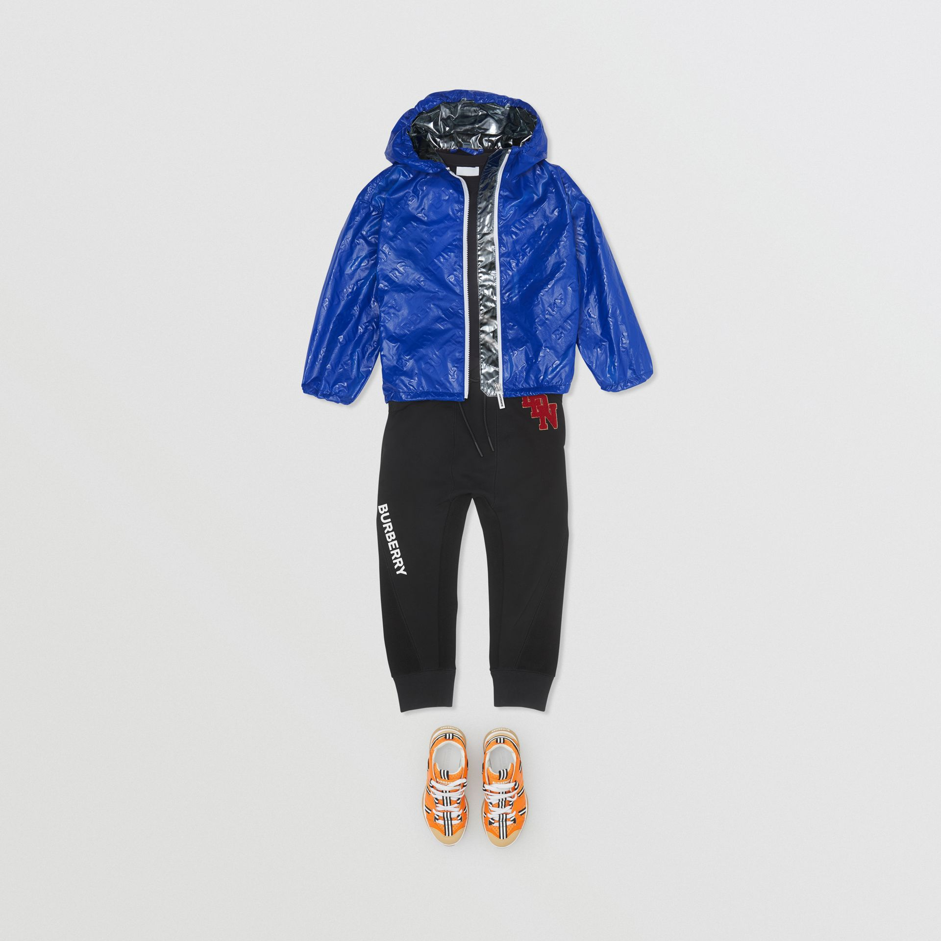 Logo Print Lightweight Hooded Jacket in Deep Cobalt | Burberry - gallery image 3