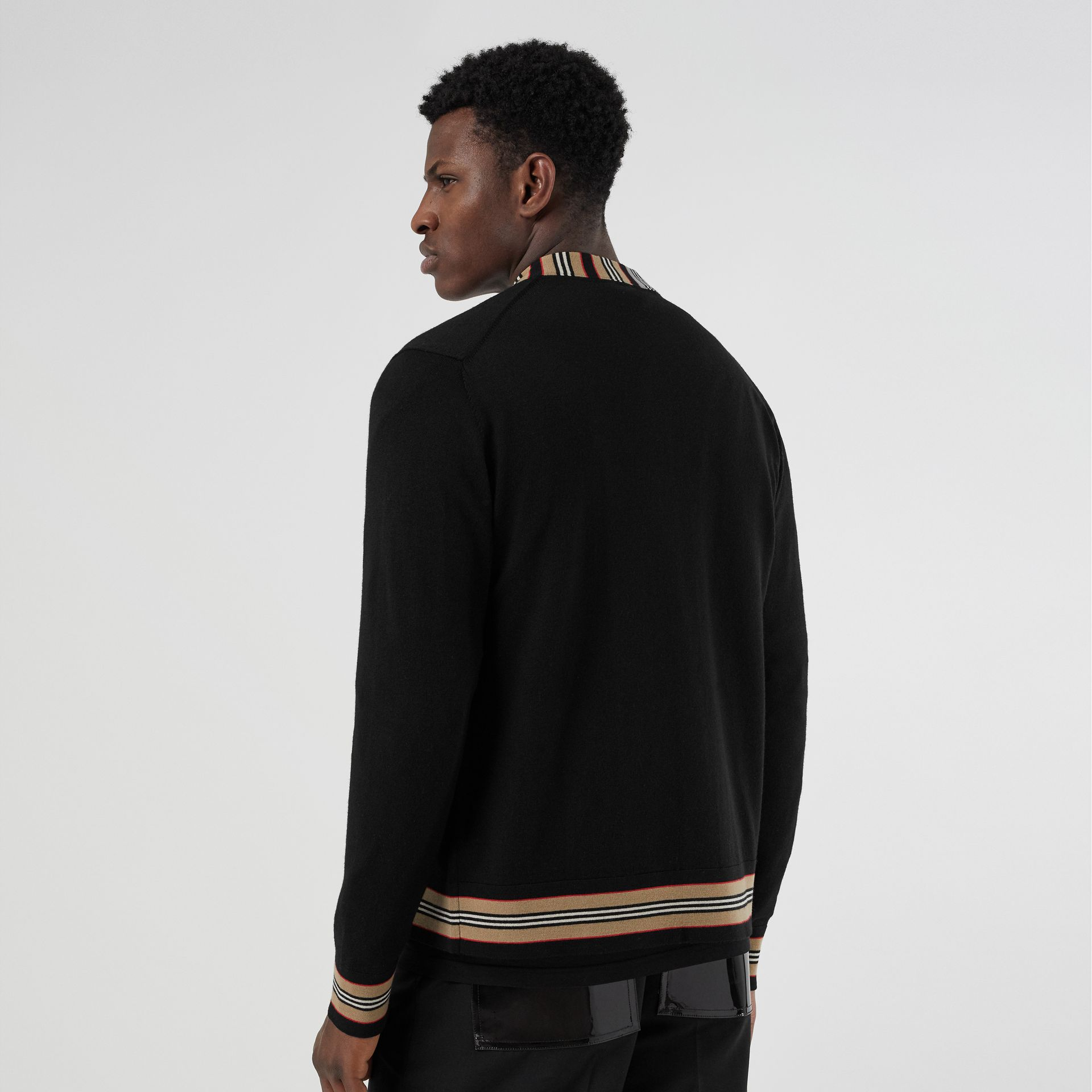 Icon Stripe Detail Merino Wool Cardigan in Black - Men | Burberry United Kingdom - gallery image 2