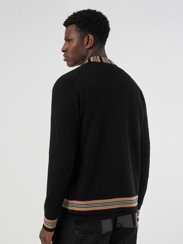 Icon Stripe Detail Merino Wool Cardigan in Black - Men | Burberry Singapore - cell image 2