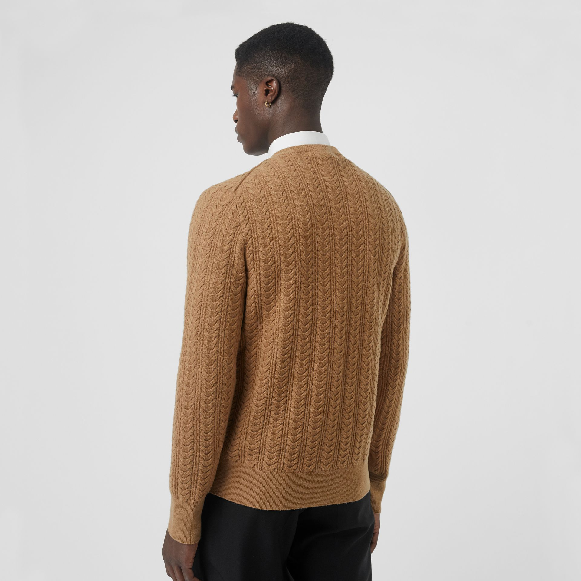 Cable Knit Cashmere Sweater in Camel - Men | Burberry United Kingdom - gallery image 2