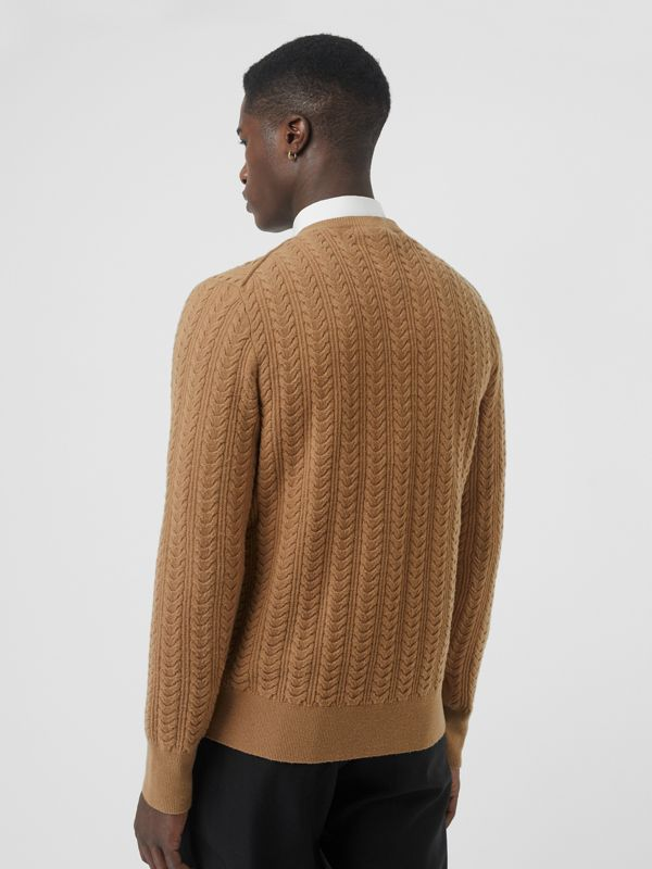 Cable Knit Cashmere Sweater in Camel - Men | Burberry United Kingdom - cell image 2