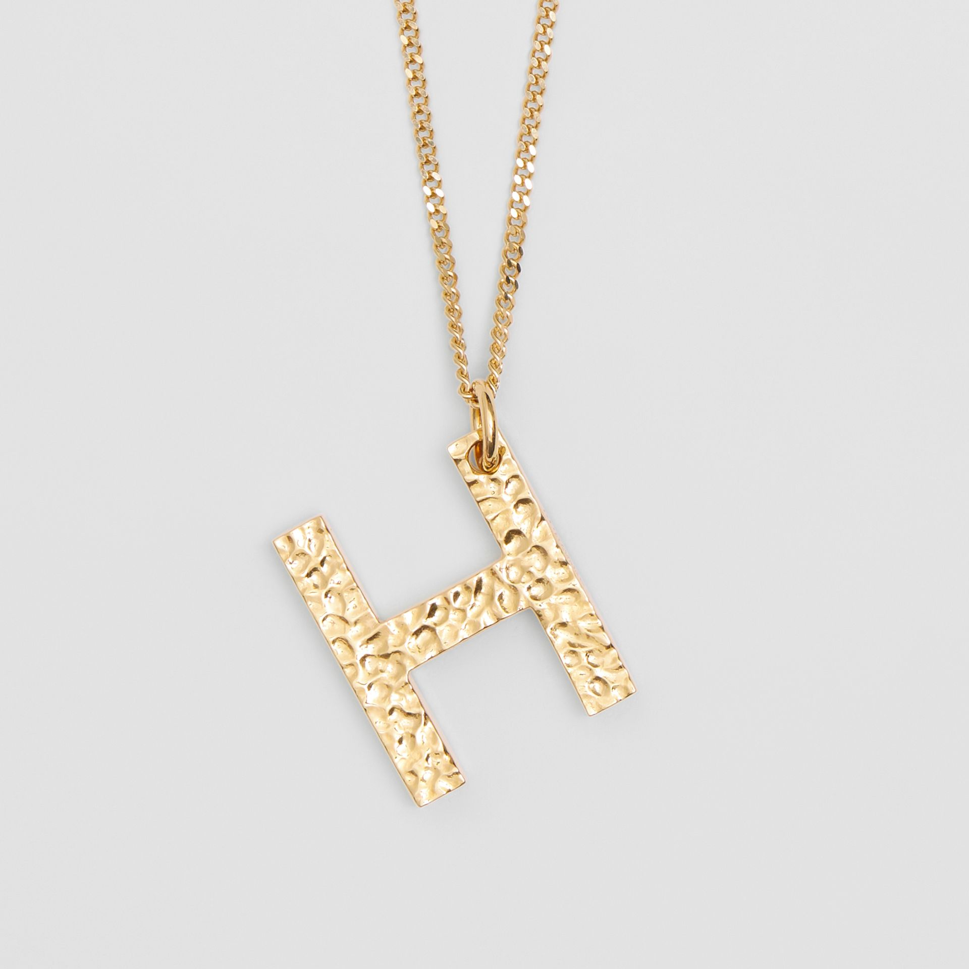 'H' Alphabet Charm Gold-plated Necklace in Light - Women | Burberry United Kingdom - gallery image 2