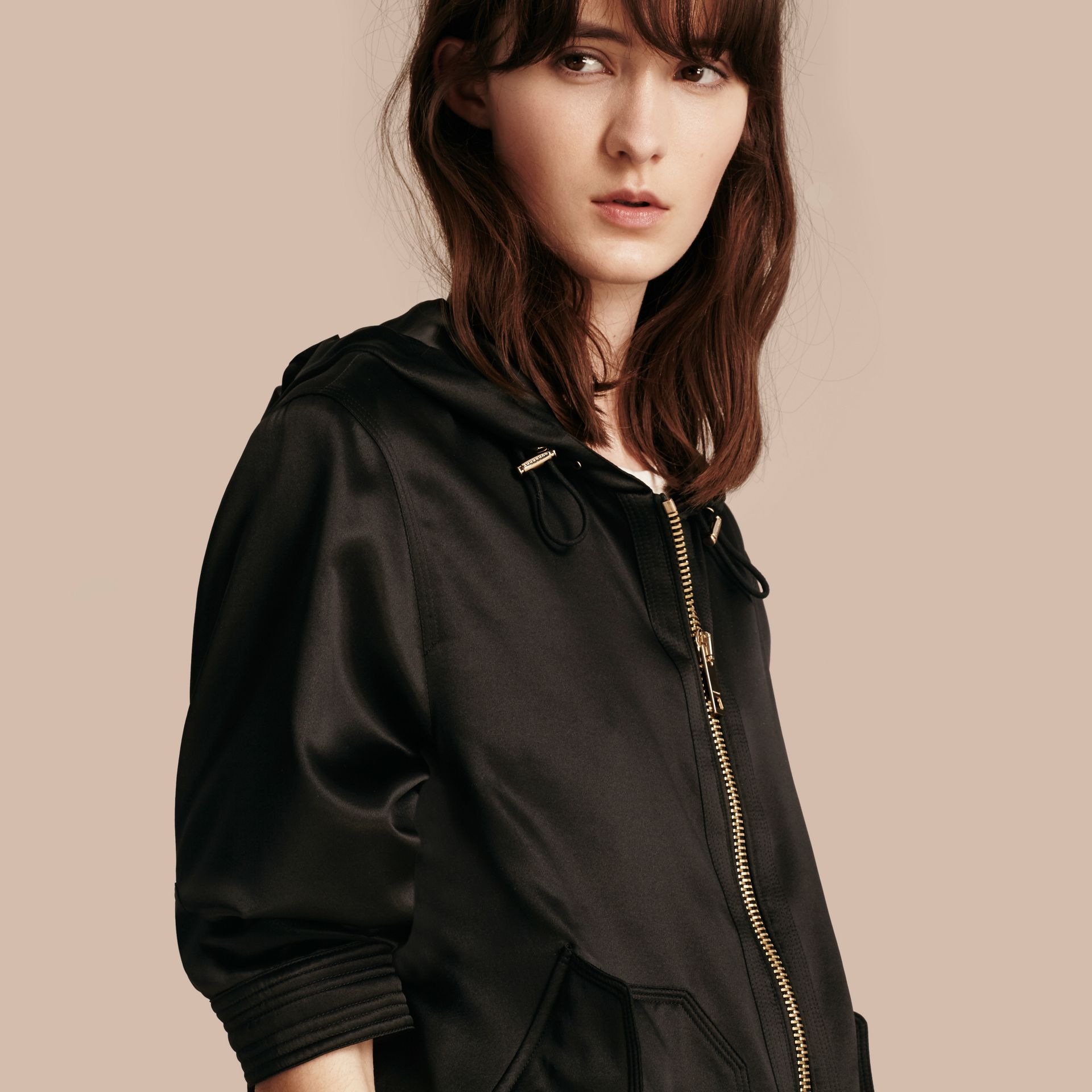 Black Silk Satin Hooded Jacket - gallery image 1