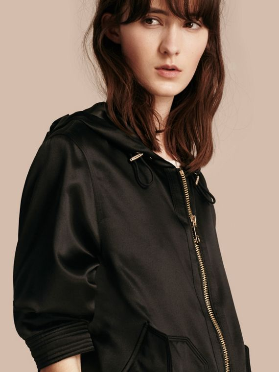 Silk Satin Hooded Jacket