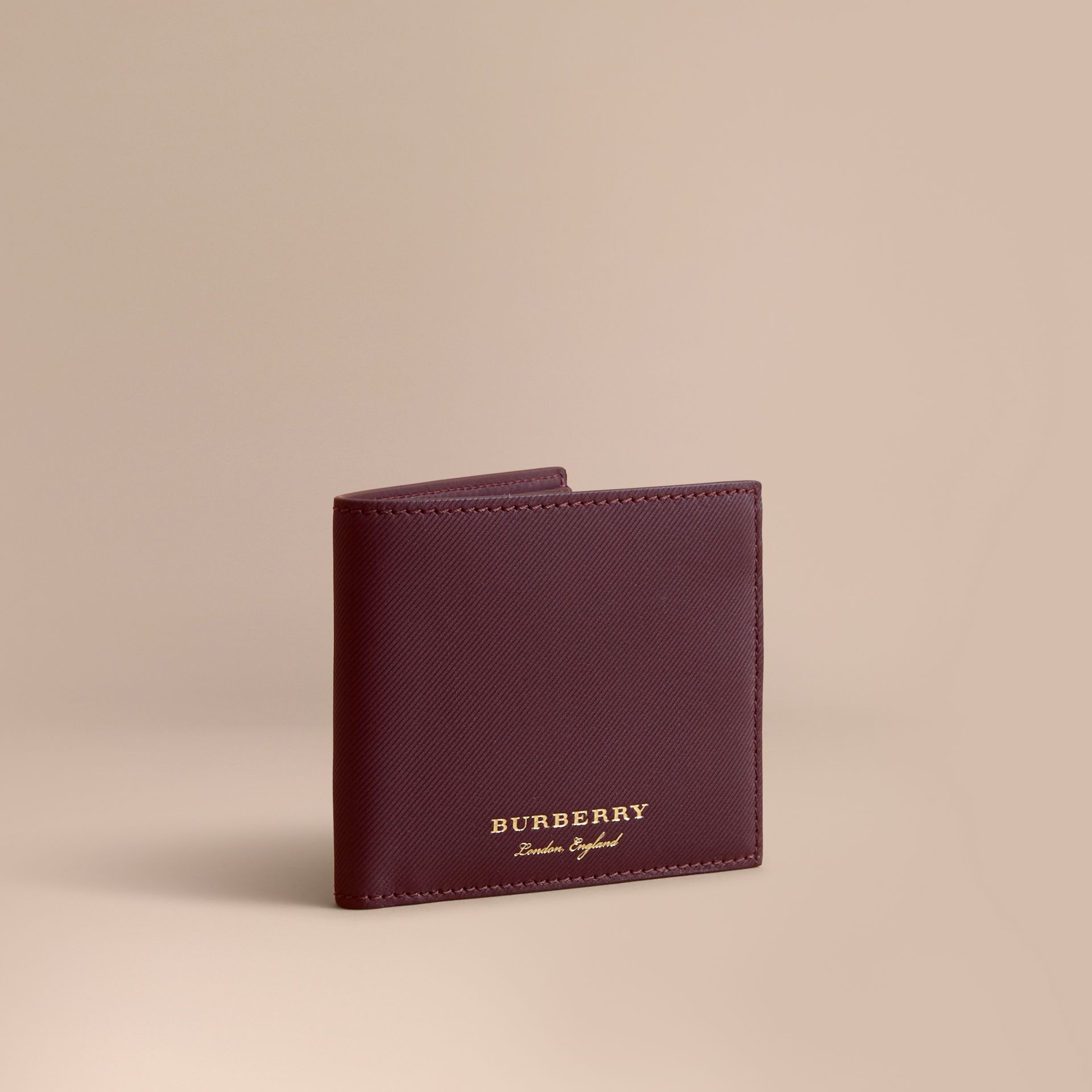Trench Leather International Bifold Wallet in Wine - Men | Burberry Australia - gallery image 1