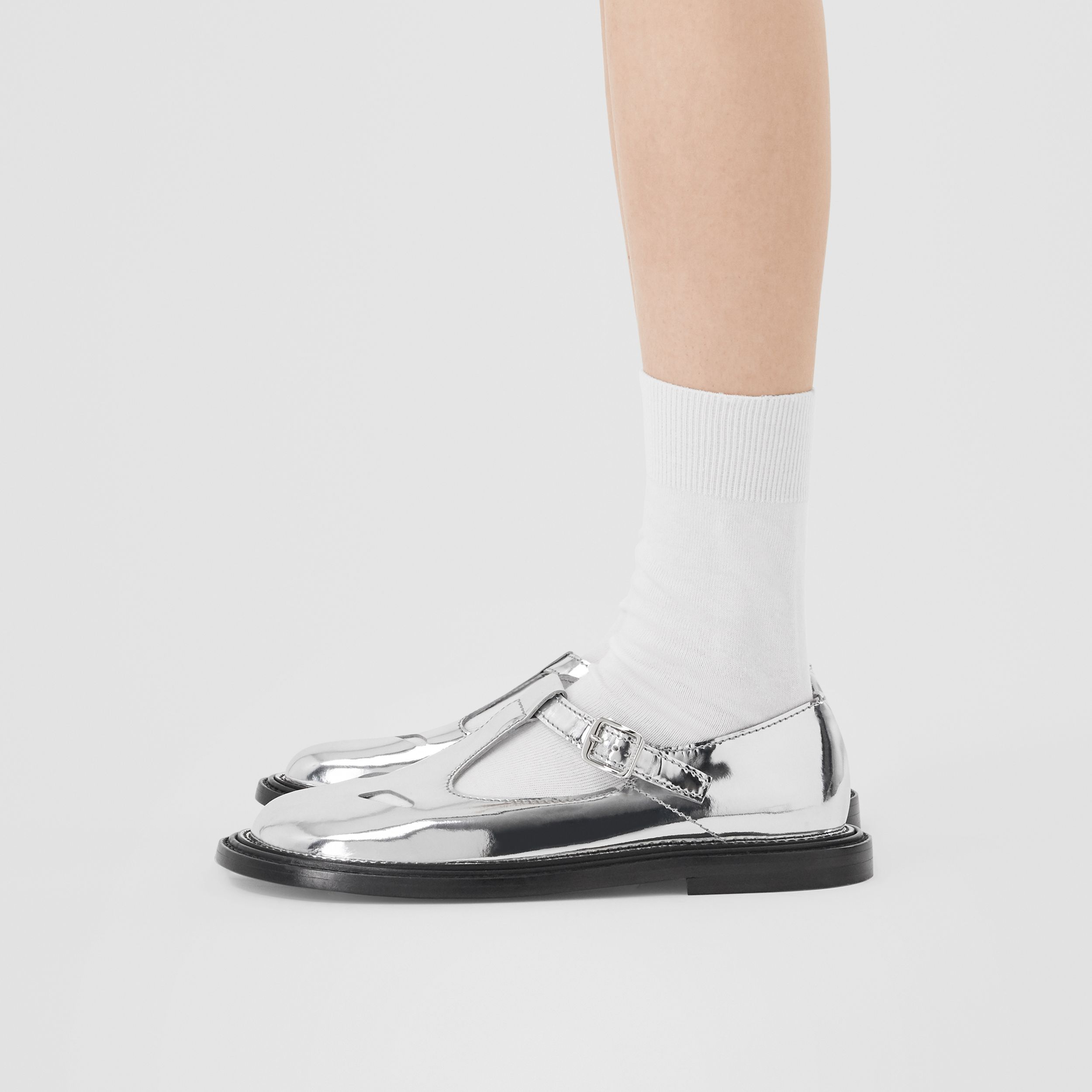 Metallic Patent Leather T-bar Shoes in Silver - Women | Burberry United Kingdom - 3