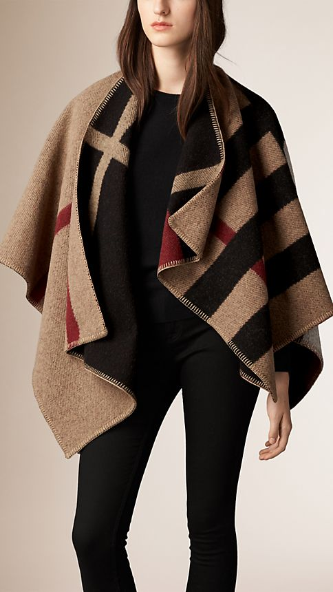 House check/black Check Wool and Cashmere Blanket Poncho House Check/black - Image 1