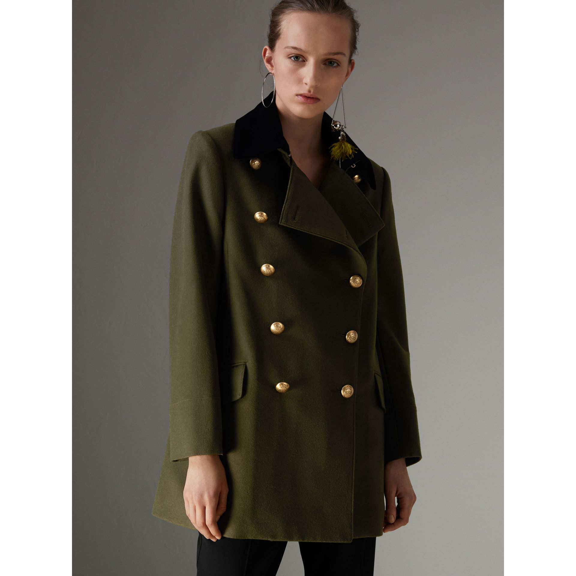 Velvet Collar Wool Military Coat in Olive - Women | Burberry - gallery image 4