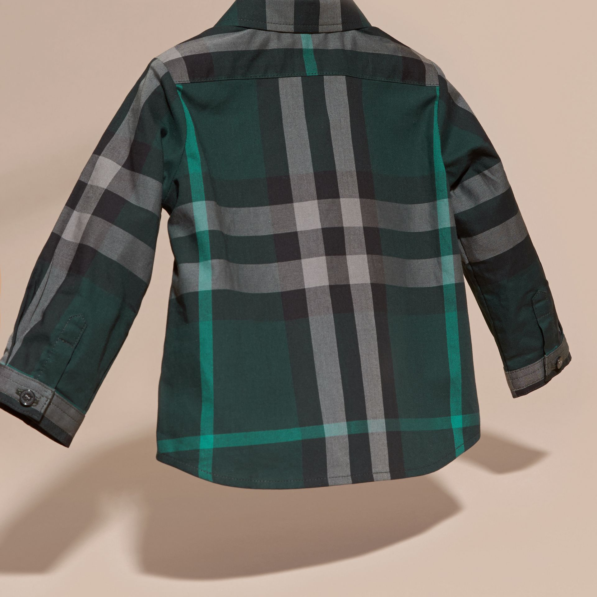 Racing green Check Button-Down Cotton Shirt Racing Green - gallery image 4