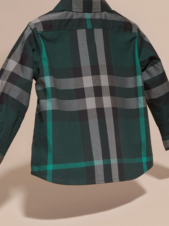 Racing green Check Button-Down Cotton Shirt Racing Green - cell image 3