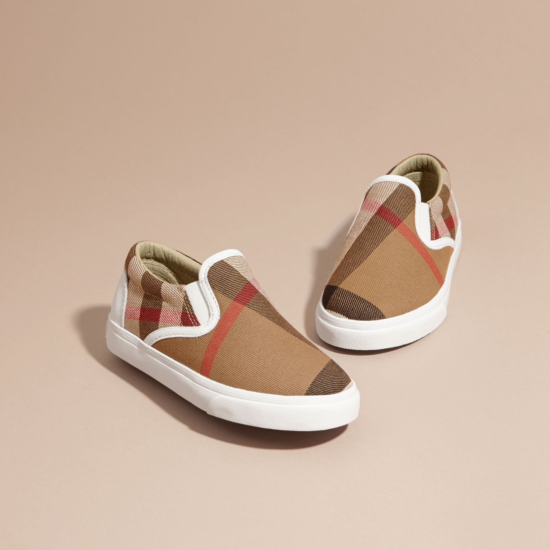 House Check Cotton Slip-On Trainers in White | Burberry United States - gallery image 3