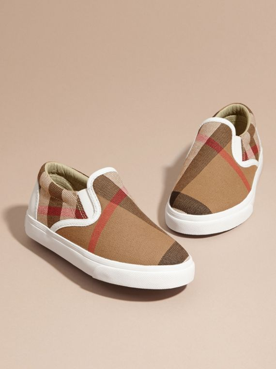 House Check Cotton Slip-On Trainers in White | Burberry United States - cell image 2