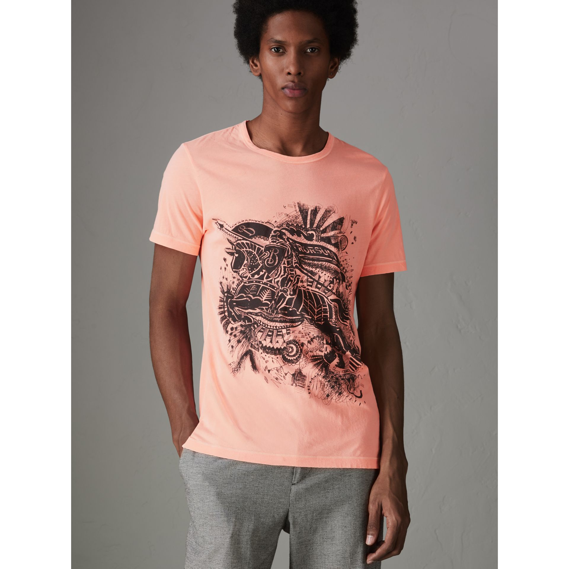 Doodle and Equestrian Knight Print Cotton T-shirt in Bright Clementine - Men | Burberry - gallery image 4