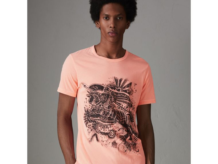 Doodle and Equestrian Knight Print Cotton T-shirt in Bright Clementine - Men | Burberry - cell image 4
