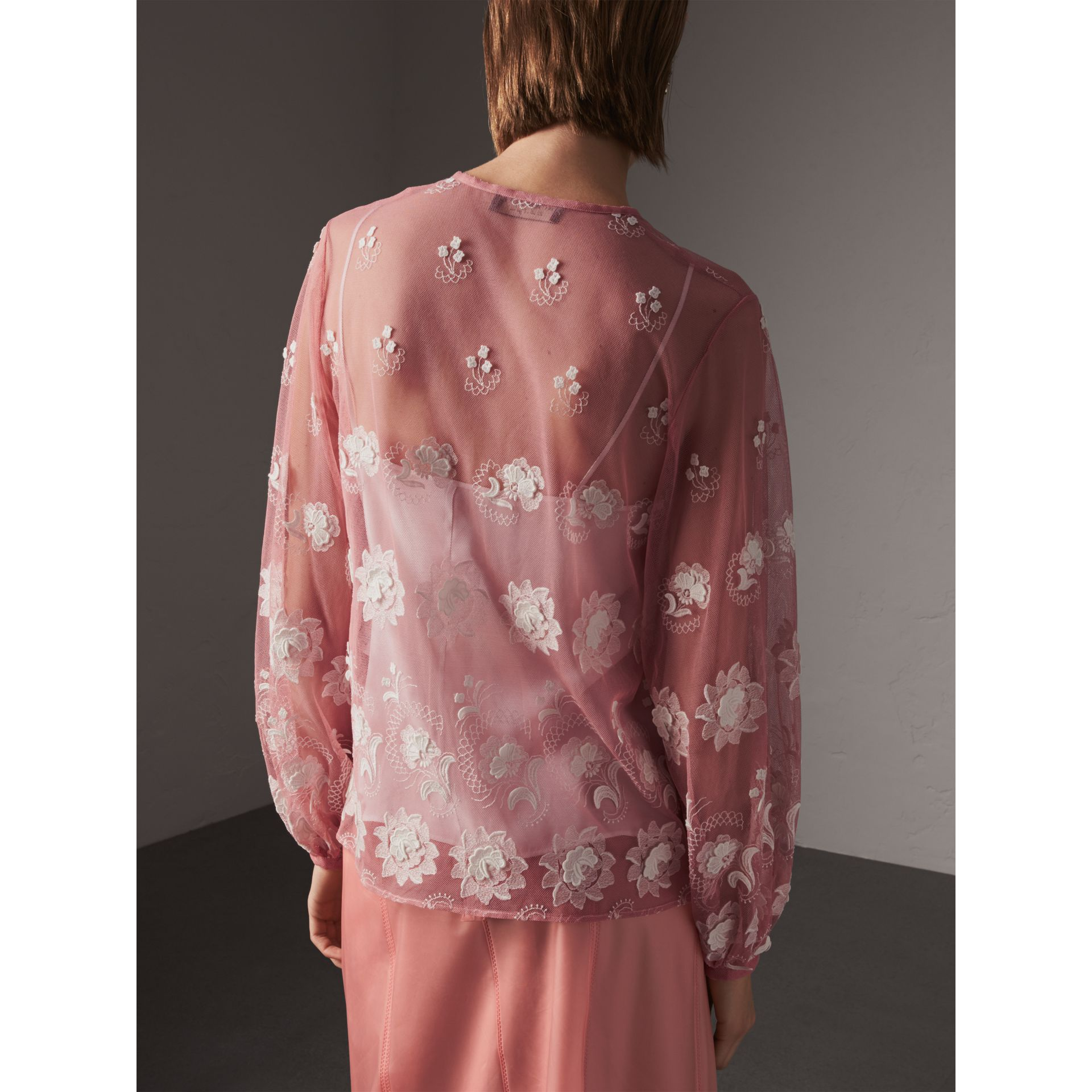 Puff-sleeve Embroidered Tulle Blouse in Rose Pink/white - Women | Burberry - gallery image 3