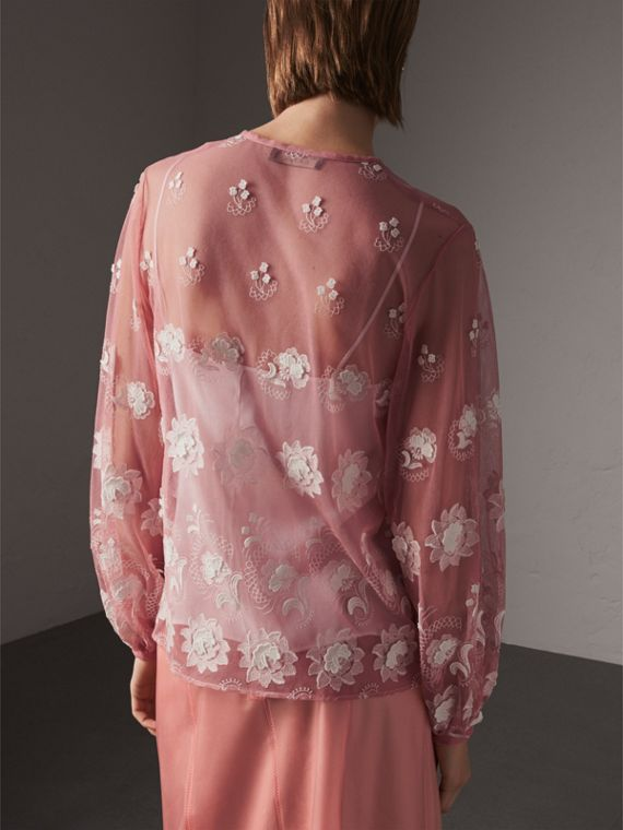 Puff-sleeve Embroidered Tulle Blouse in Rose Pink/white - Women | Burberry Singapore - cell image 2