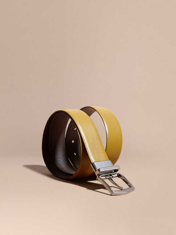 Reversible London Leather Belt Larch Yellow/bitter Chocolate