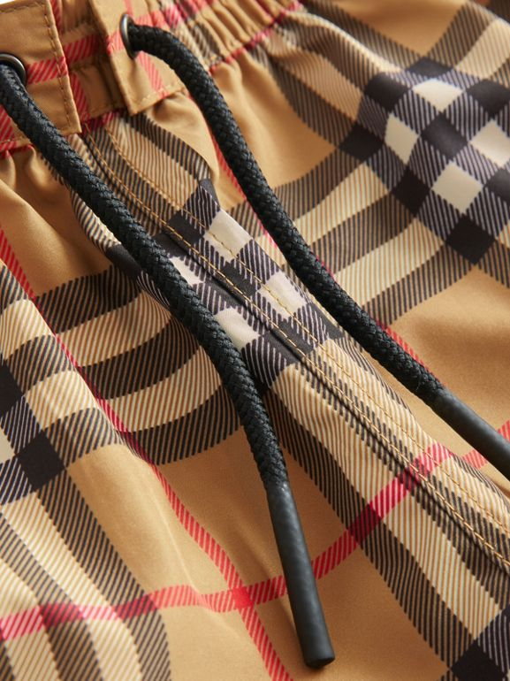 Check Swim Shorts in Antique Yellow - Children | Burberry Canada - cell image 1