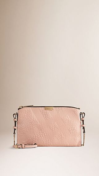 Check-embossed Leather Clutch Bag