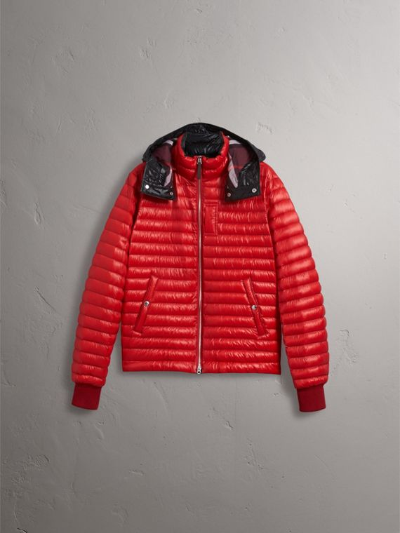 Packaway Hood Down-filled Puffer Jacket in Military Red - Men | Burberry Singapore - cell image 2
