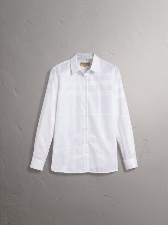 Check Jacquard Cotton Shirt in White - Women | Burberry - cell image 3