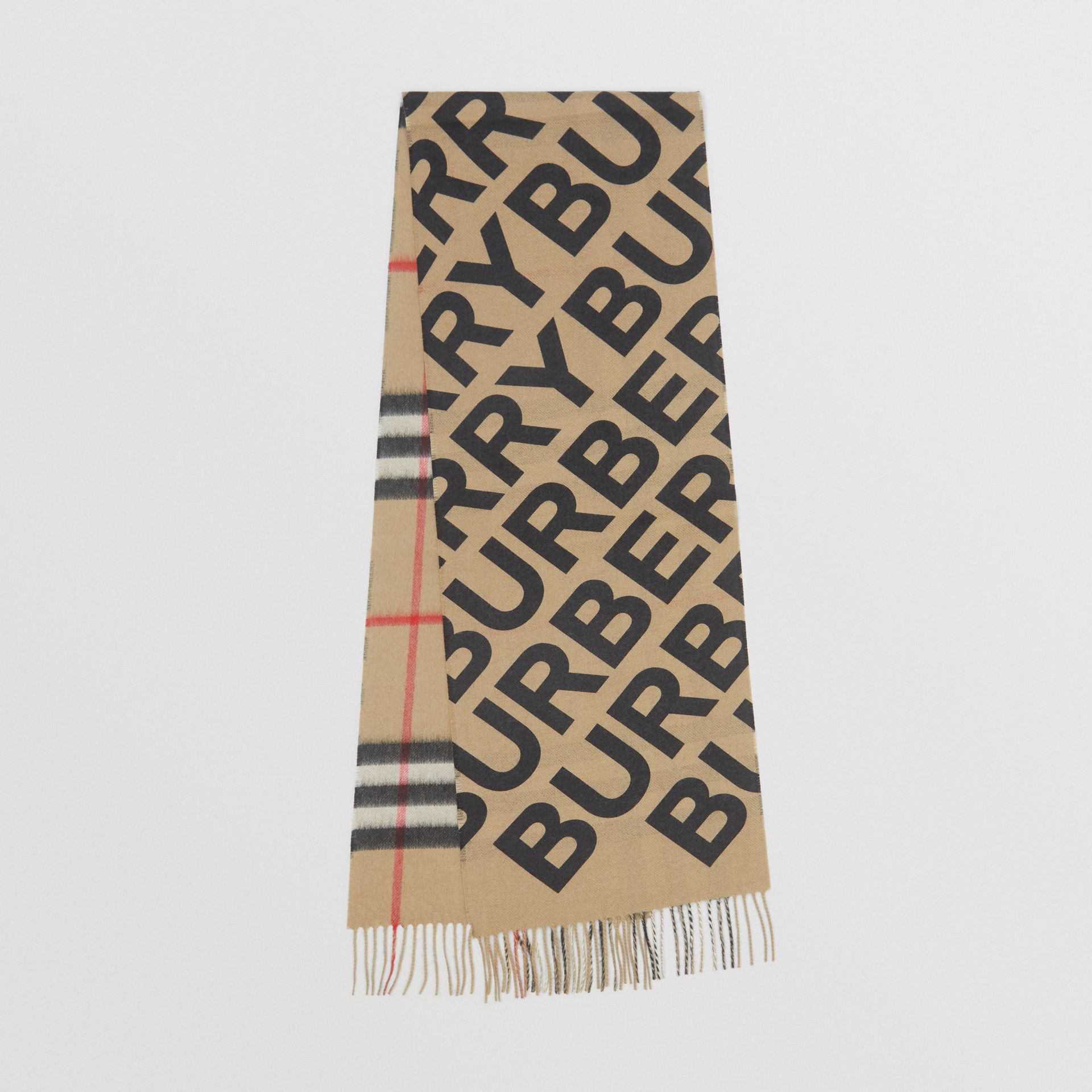 Logo Print Check Cashmere Scarf in Black | Burberry Singapore - gallery image 0