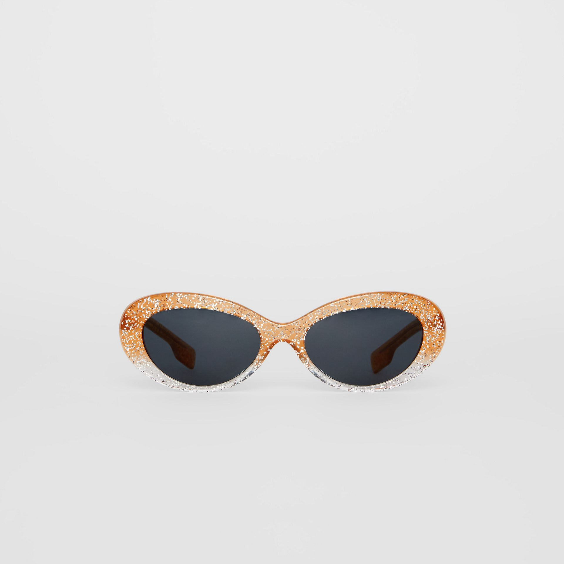 Glitter Detail Cat-eye Frame Sunglasses in Orange - Women | Burberry United Kingdom - gallery image 3