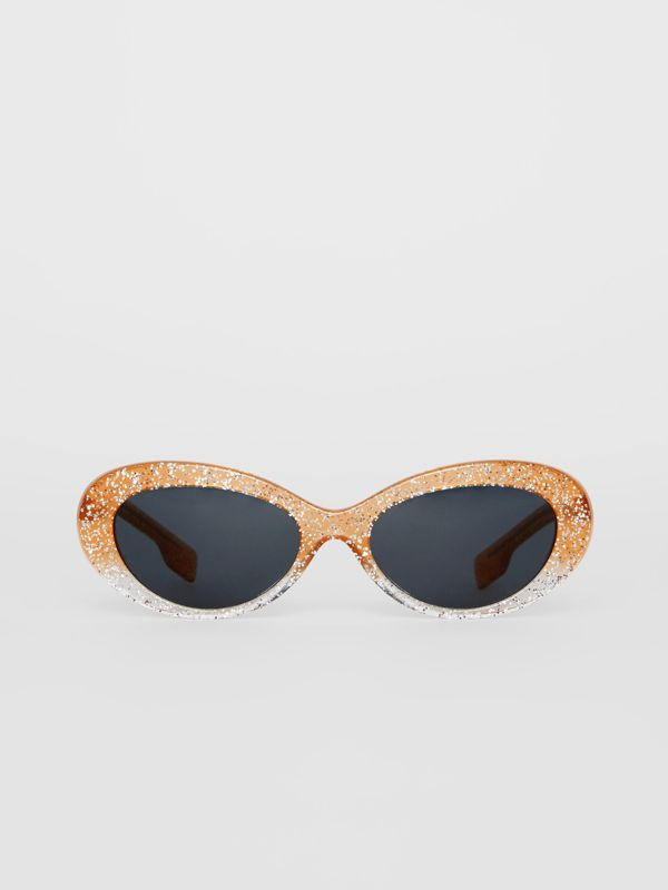 Glitter Detail Cat-eye Frame Sunglasses in Orange - Women | Burberry United Kingdom - cell image 3