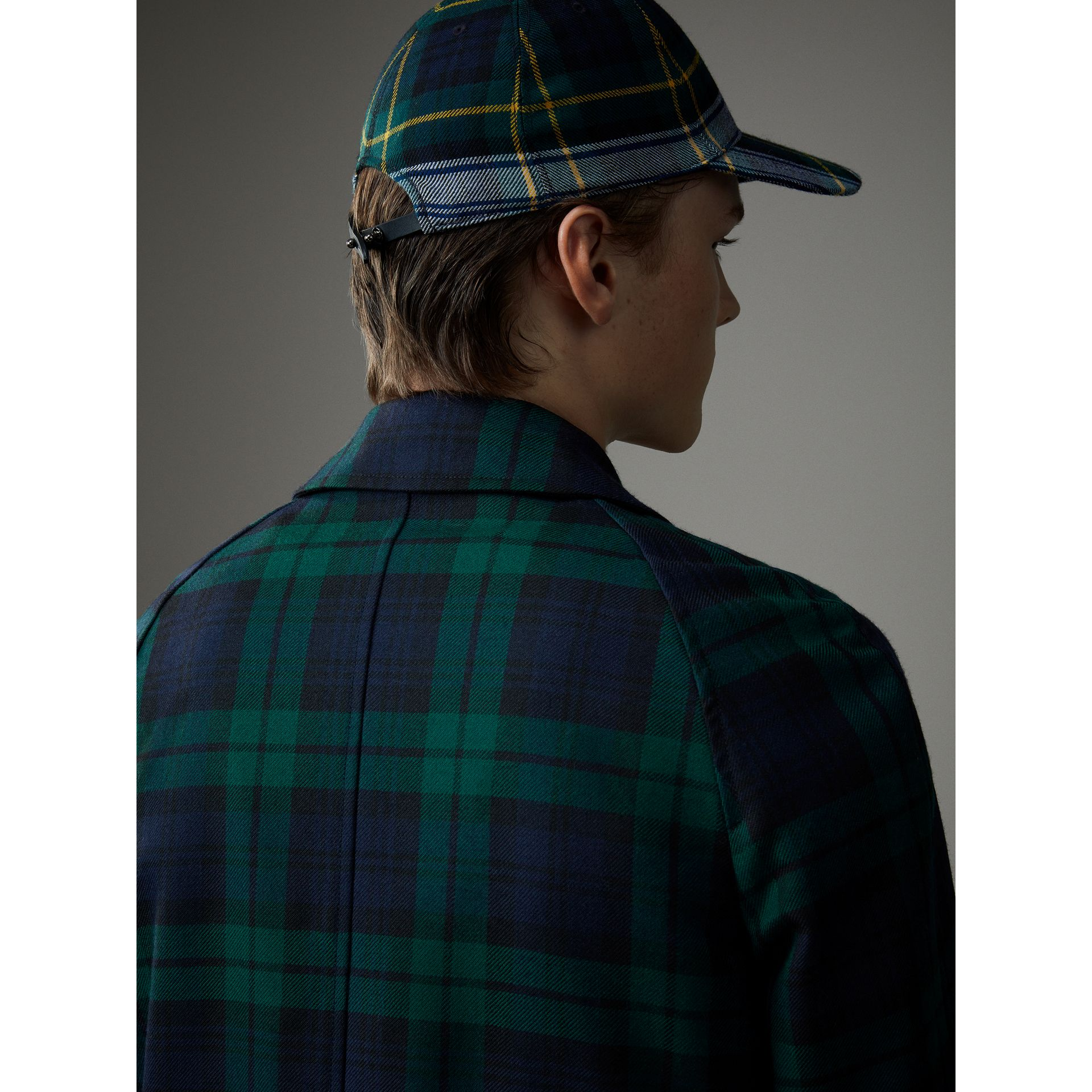 Reversible Tartan Wool and Cotton Gabardine Car Coat in Navy - Men | Burberry - gallery image 1