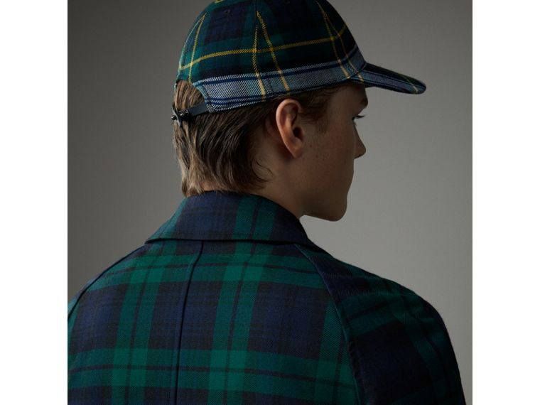 Reversible Tartan Wool and Cotton Gabardine Car Coat in Navy - Men | Burberry Hong Kong - cell image 1
