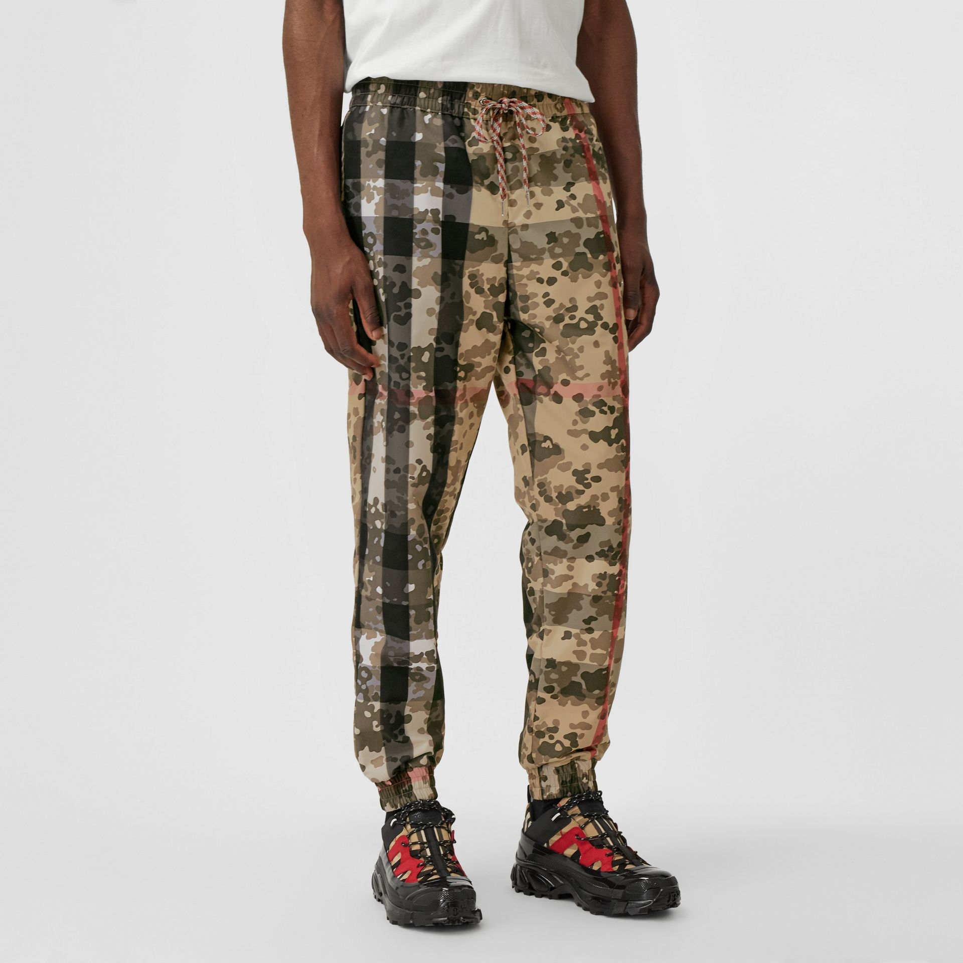 Camouflage Check Nylon Trackpants in Archive Beige | Burberry United Kingdom - gallery image 4