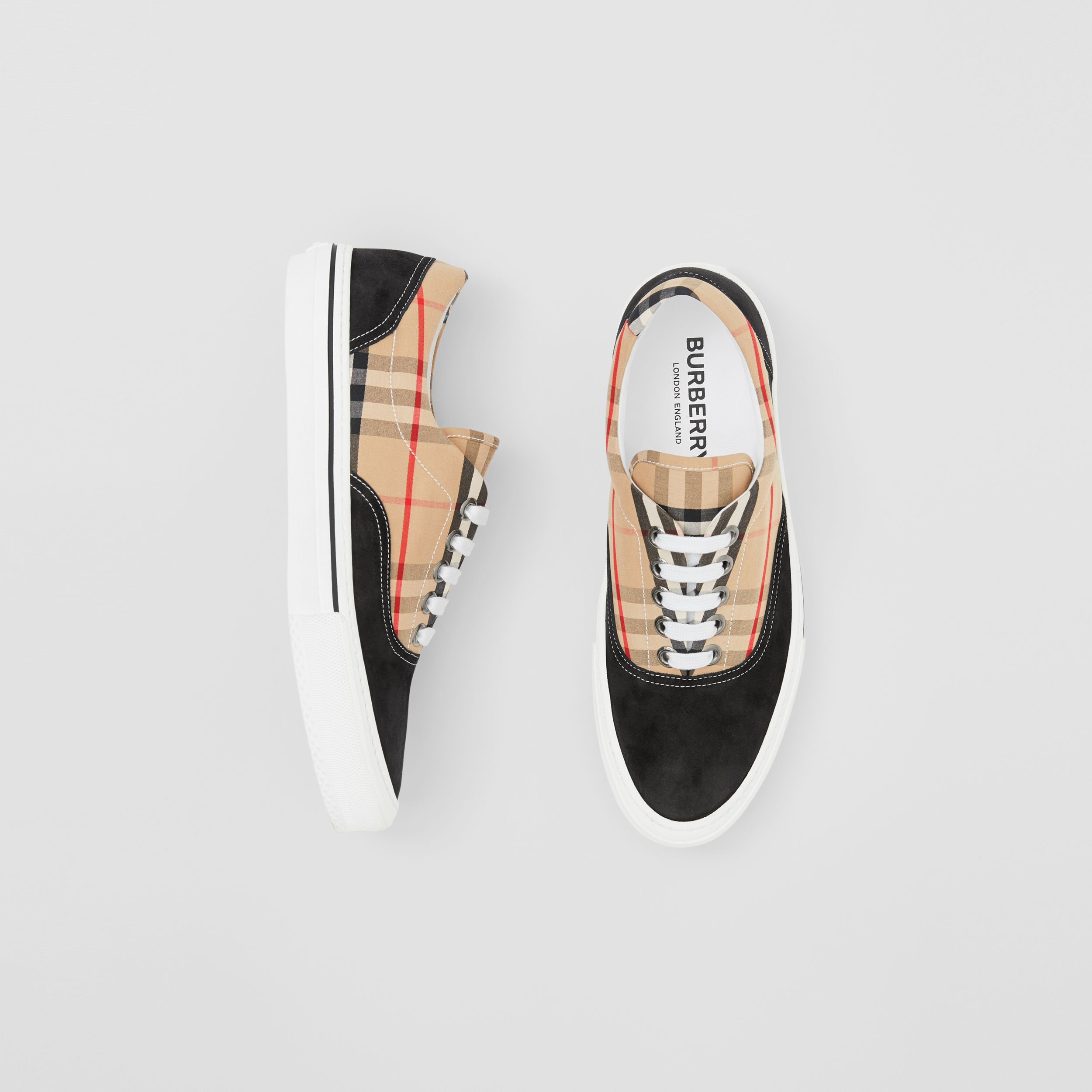 Vintage Check Cotton and Suede Sneakers in Black/archive Beige - Men | Burberry - 1