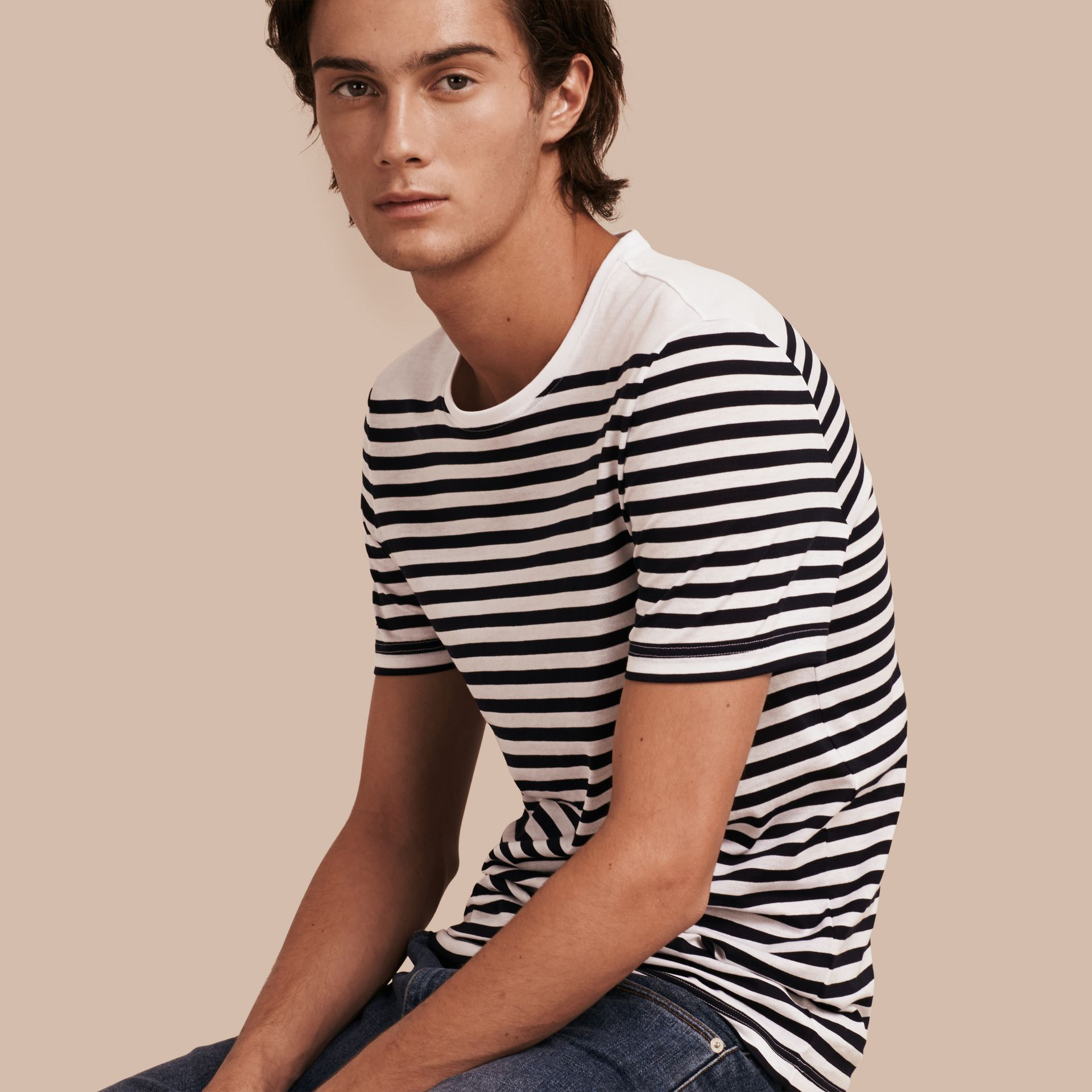 Bright navy Striped Cotton T-shirt Bright Navy - gallery image 1