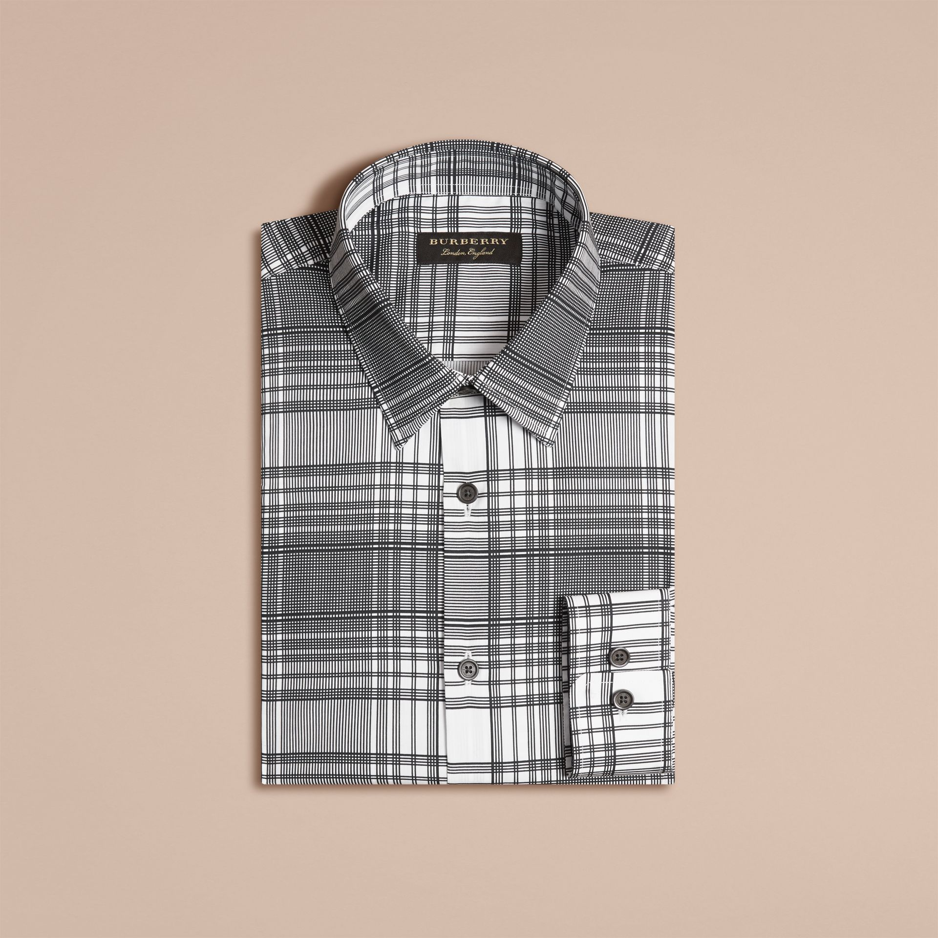 White Check Lightweight Cotton Silk Shirt White - gallery image 4