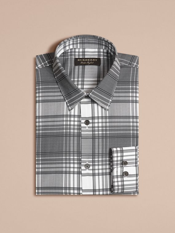 White Check Lightweight Cotton Silk Shirt White - cell image 3
