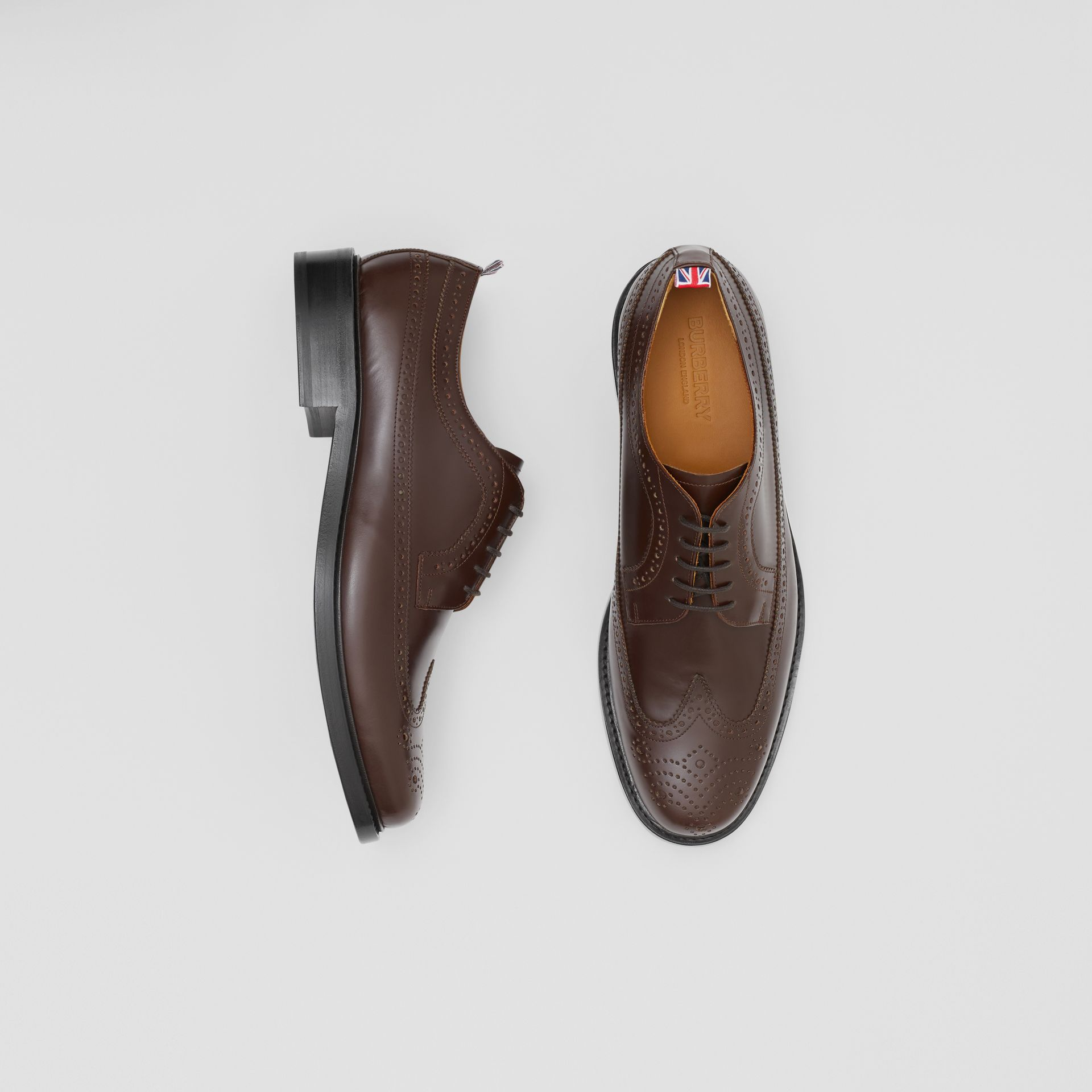 Brogue Detail Leather Derby Shoes in Tan - Men | Burberry - gallery image 0