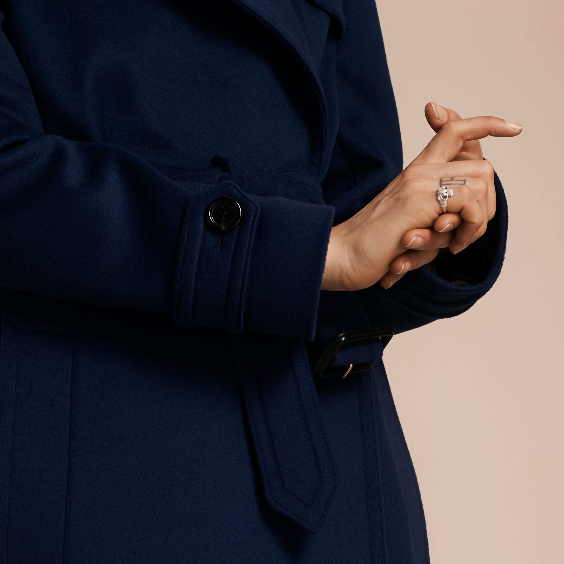 Empire blue Wool Cashmere Wrap Trench Coat - gallery image 6