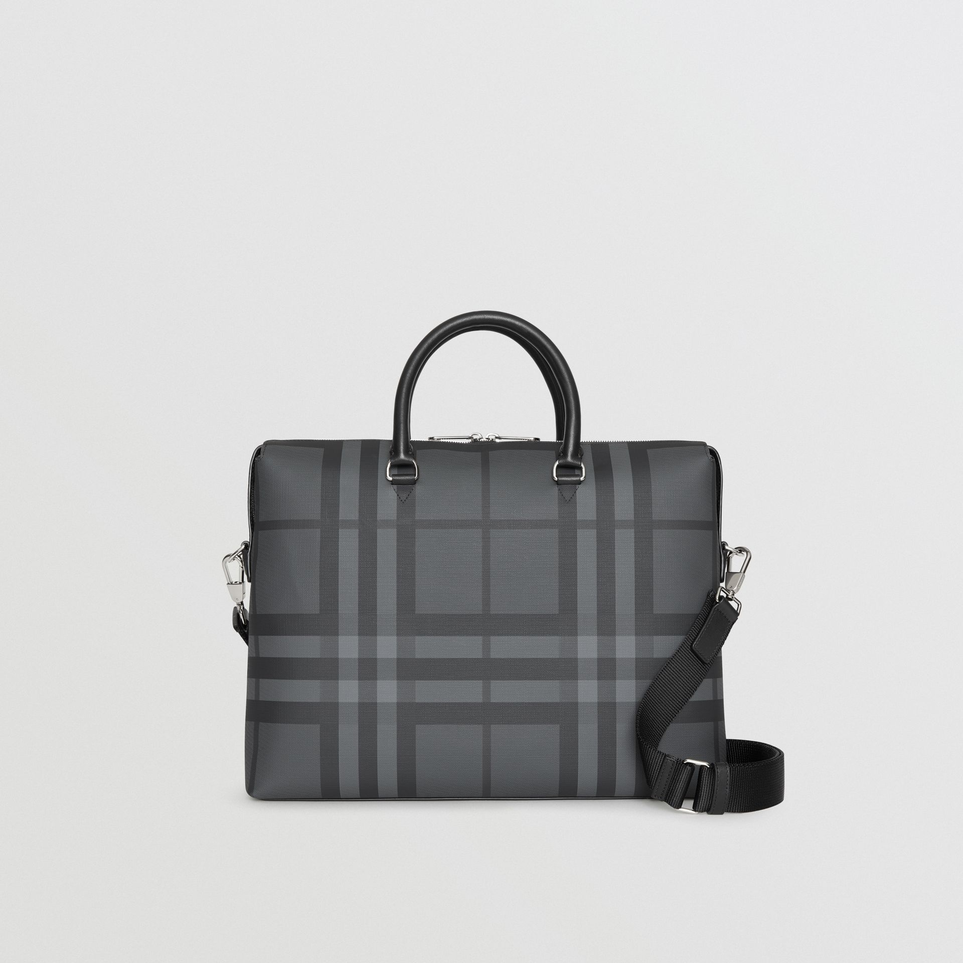 Large London Check Briefcase in Charcoal/black - Men | Burberry Australia - gallery image 0