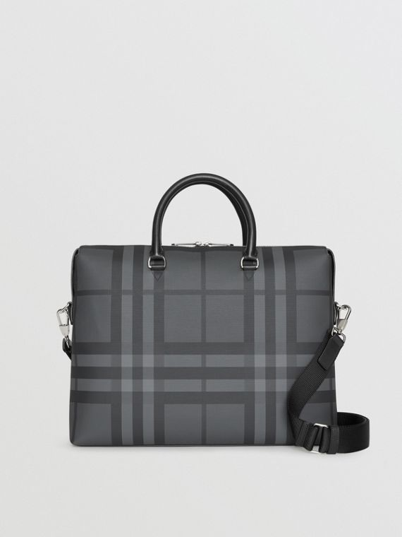 Large London Check Briefcase in Charcoal/black