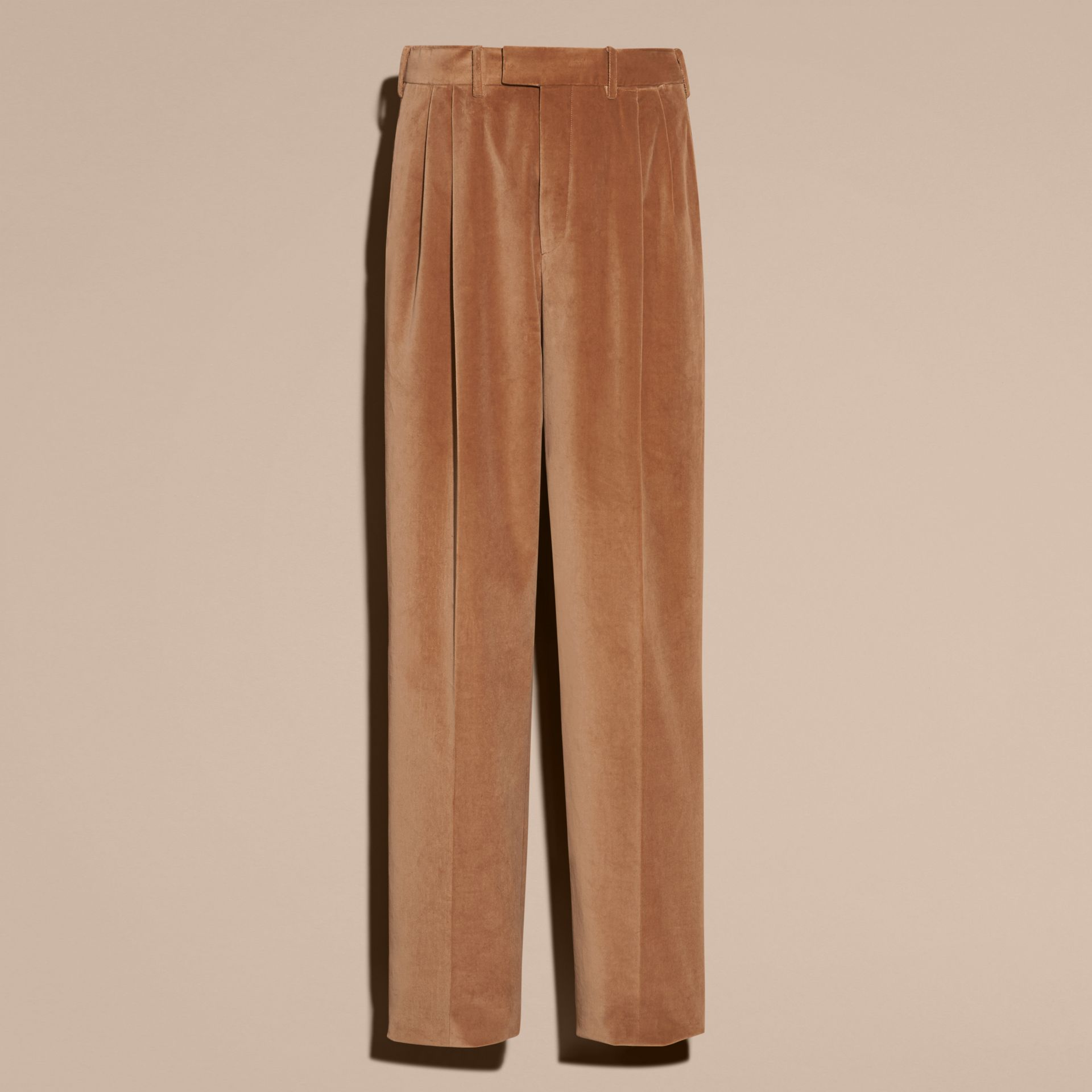 Wide-leg Salt-washed Velvet Trousers in Mid Camel - gallery image 4