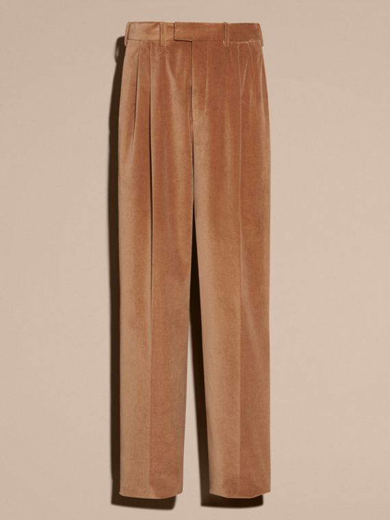 Wide-leg Salt-washed Velvet Trousers in Mid Camel - cell image 3